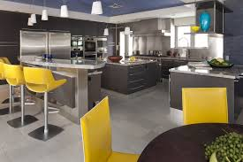 yellow bar stools with stainless steel backsplash dream home