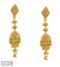 gold jhumka earrings 22k yellow gold jhumka earrings ajer53509 22k gold fancy
