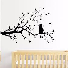 online get cheap wall stickers bedroom cat tree aliexpress com 2017 new arrival tree branch wall stickers living room bedroom cat wall stickers glass window stickers