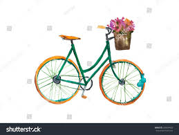 retro bicycle flower watercolor painting stock illustration