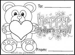 printable happy mothers teddy bear card coloring