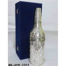 silver wine bottles brass silver plated wine bottle at rs 800 diwali