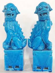 turquoise foo dogs for sale pair of regency 1950s turquoise foo dogs at 1stdibs