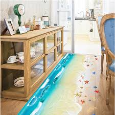 chambre bébé plage 3d bande dessinée océan vagues plage shell empreinte mur autocollant