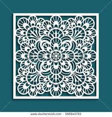 decorative panel lace pattern square stock vector