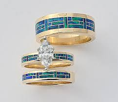 wedding ring trio sets wedding engagement rings southwest wedding rings turquoise