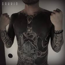 shoulder to chest tattoo tattoo full black japanese demon full body chest tattoo