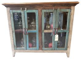antique multi color pine console cabinet with 4 doors console
