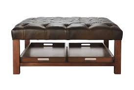 Black Tufted Ottoman Engaging Black Leather Ottoman Coffee Table Furniture Luxurious