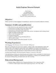 Sample Resume Computer Skills by Download Audio Recording Engineer Sample Resume