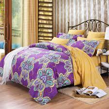 Full Size Purple Comforter Sets Purple And Yellow Bohemian Boho Chic Western Paisley Print 100