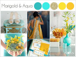 color palette for wedding aqua marigold yellow and gold indian wedding color palette
