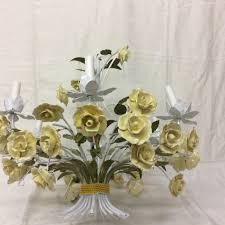 porcelain chandelier roses vtg italian tole chandelier 40 yellow porcelain roses flowers