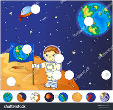 Picture Of Flag On Moon Astronaut Earth Flag On Surface Moon Stock Illustration 357499376