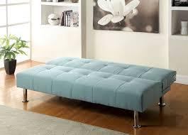 dewey blue flax fabric sofa futon converts into bed w side pockets