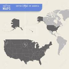 Map Of North And South America by Vector Map Of The United States Of America With Also A Minimap