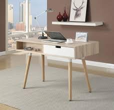 Bombe Secretary Desk by Coaster 801158 Mid Century Writing Desk Two Tone Natural White Finish