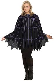 Plus Size Halloween Costumes Spider Web Poncho Black Purple Solid Pack Plus Size Halloween