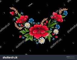 beautiful flowers embroidery vector textile design stock