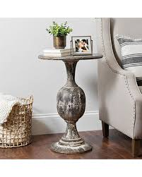 round distressed end table deal alert distressed round black pedestal accent table