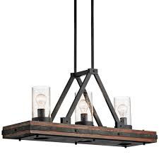 Rustic Style Chandeliers Kichler 43433aub Auburn Stained Colerne 3 Light 36