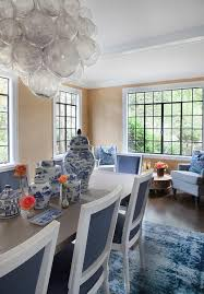 Muriel Chandelier Gray Dining Table With Blue French Dining Chairs Transitional