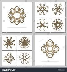 collection abstract ornaments set design stock vector