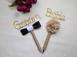 guest book pen set of 2 pens wrapped in jute twine and groom guest book pen