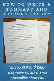 english composition sample essay why to assign summary and response essays before a research paper before we begin a research paper in my composition classes we start with a summary response essay