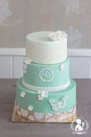vintage wedding cake green lace roses hearts cakes by