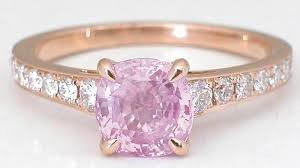 pink rings gold images Rose gold pink sapphire rings with cushion cut gemstone jpg