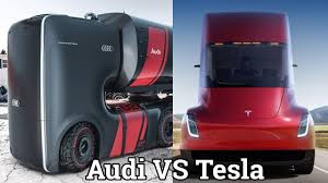 concept semi truck audi future concept truck vs tesla semi truck visual comparision