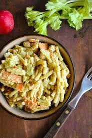 creamy pasta salad with crunchy carrots and chickpeas vegansandra