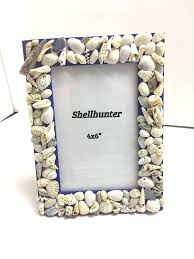 Shadowbox Beach Themed Seashell Shadowbox Seaglass Beach Decor by Seashell Picture Frame Cobalt Blue 4 By 6 Frames