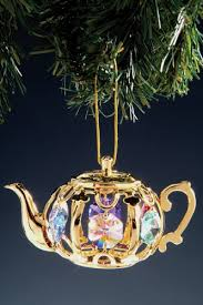 gold plated christmas ornaments teapot swarovski 24k gold plated ornament