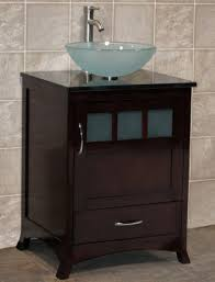 24 bathroom vanity solid wood cabinet black granite top vessel