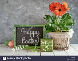 happy easter decorations easter decorations on gray concrete background blackboard with