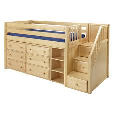 marlowe low loft bed with dressers bookcase and staircase low