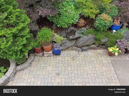 backyard garden landscaping paver image u0026 photo bigstock