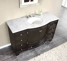 Contemporary Bathroom Vanities Silkroad 55 Inch Single Sink Bathroom Vanity Carrara White Marble
