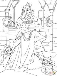 princess aurora with good fairies coloring page free printable