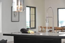 lead free single handle commercial style pull down kitchen faucet