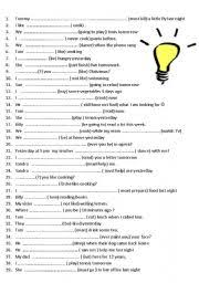 english teaching worksheets tenses revision