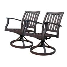 Swivel Rocker Patio Dining Sets Allen Roth Set Of 2 Gatewood Brown Slat Seat Aluminum Swivel