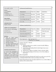 chartered accountant resume chartered accountant resume in doc
