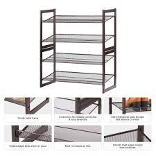 Metal Shelves For Storage Amazon Com Langria 4 Tier Utility Shoe Rack Metal Stackable
