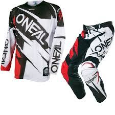 black motocross gear black red kit oneal hardwear 2017 flow jag motocross jersey
