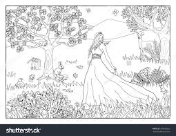 coloring page princess forest stock vector 378936523 shutterstock