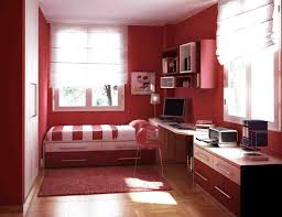 red wall theme and white window blinds connected by red white