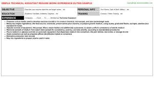 Aquarist Resume Technical Assistant Job Title Docs
